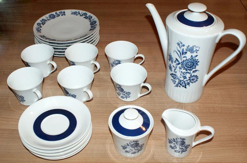 porzellan kaffee service mitterteich blau weis blumen. Black Bedroom Furniture Sets. Home Design Ideas